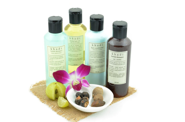 Natural Anti Graying Solution Kit of Hair Oil, Shampoo & Conditioner with ingredients