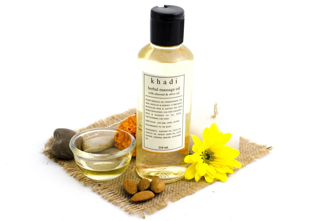 Almond & Olive Body Massage Oil 210 ml with ingredients