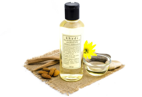 Face & Body Massage Oil with Almond Oil & Vitamin-E, Sandalwood Oil - 210 ml