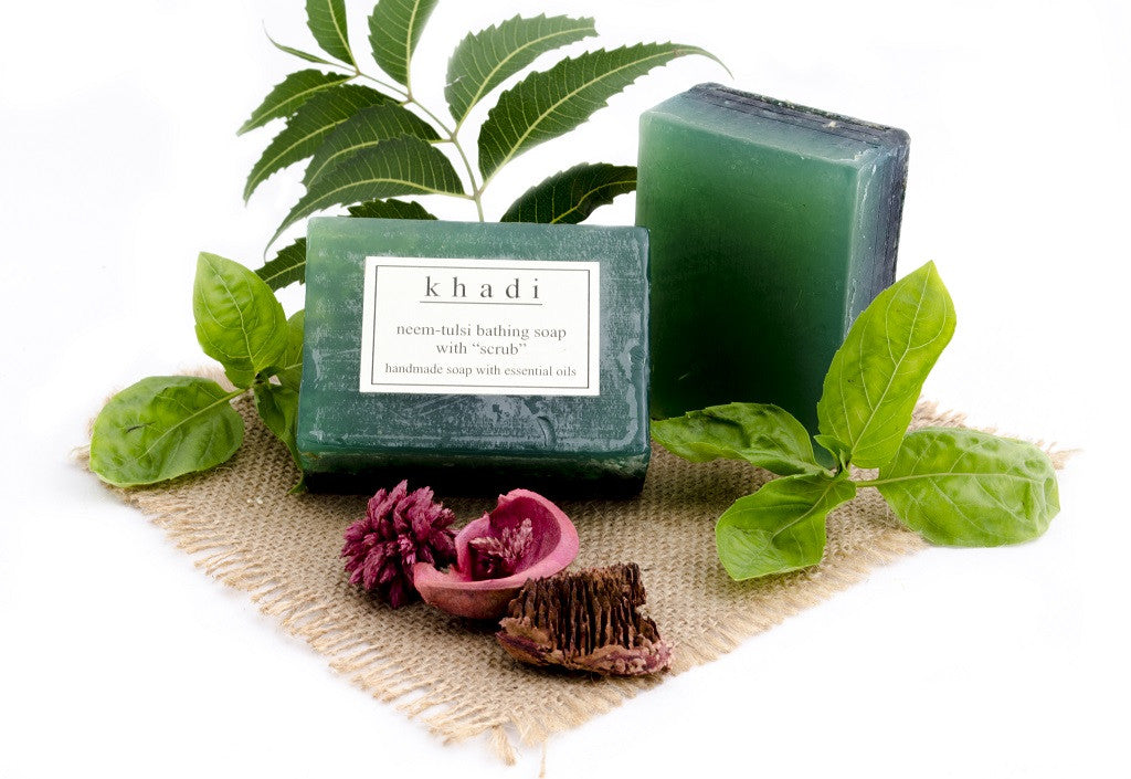 Neem Tulsi Bathing Soap with Scrub - 125 gm with ingredients