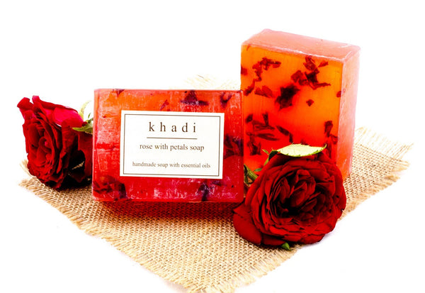 Rose with Petals Soap - 125 gm with ingredients