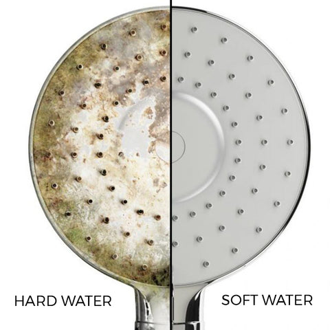 Hard Water leaves scum, soft water doesn't.