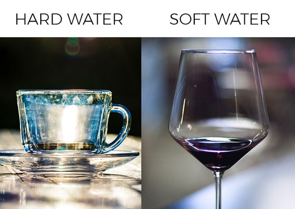 Hard water leaves spots and streaks on your dishes, soft water leaves your dishes sparkling clean.