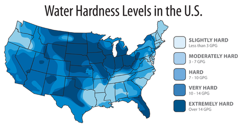 Water Hardness map of America