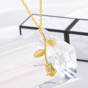 Gold Plated Rose Pendant Necklace