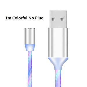 Open image in slideshow, 1m Magnetic Flowing Light LED Cable Micro USB Type C Fast Charging Wire Cord For Huawei Samsung Android Phone Charger Cables