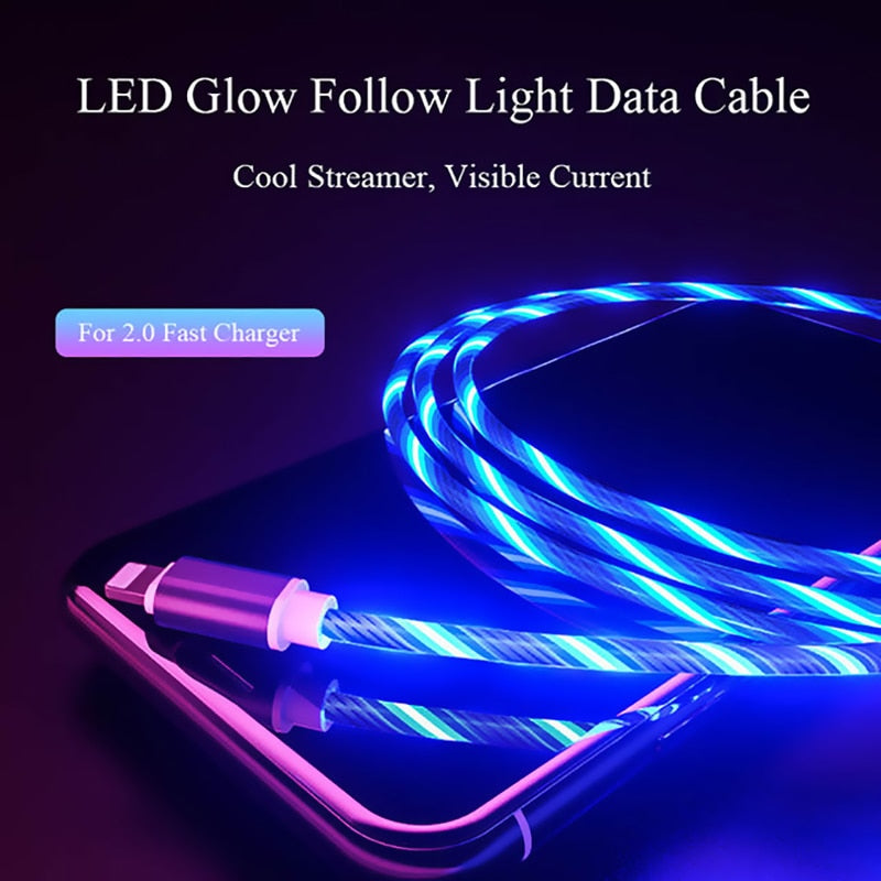 1m Magnetic Flowing Light LED Cable Micro USB Type C Fast Charging Wire Cord For Huawei Samsung Android Phone Charger Cables
