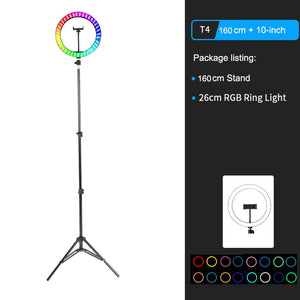"Open image in slideshow, 10"" RGB LED Ring Light Selfie Photographic Lighting Colorful Ring Lamp Dimmable with Control Stand for TikTok Youtube Vlog Live"