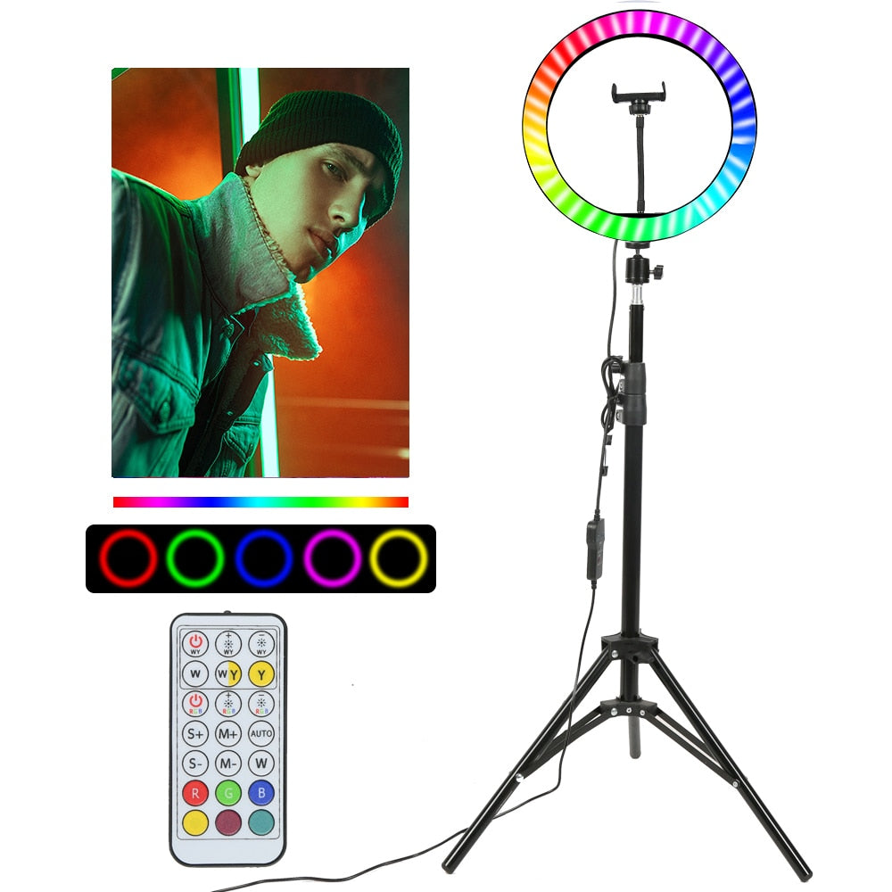 "10"" RGB LED Ring Light Selfie Photographic Lighting Colorful Ring Lamp Dimmable with Control Stand for TikTok Youtube Vlog Live"