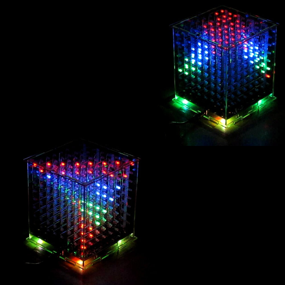 3D multicolor led light cubeeds kit with Incredible Animation 3D8 8x8x8 gift led display electronic diy kit