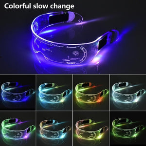 Open image in slideshow, LED Glasses EL Wire Neon Party Luminous LED Glasses Light Up Glasses Rave Costume Party Decor Cyberpunk Goggles LED Toys