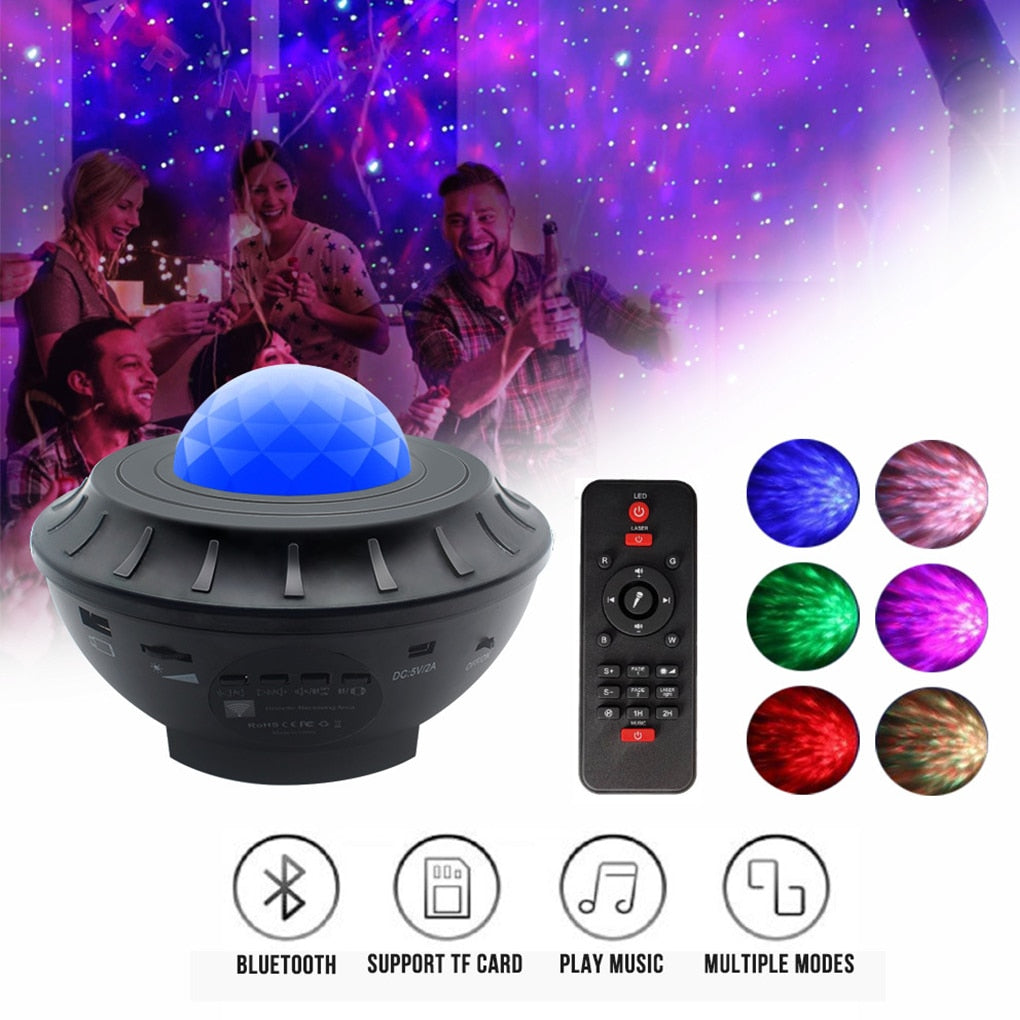 Colorful LED Star Light Projector Rotating Ocean Wave Night Lights Bluetooth Music USB Nebula Lamp Starry Sky Galaxy Light Decor