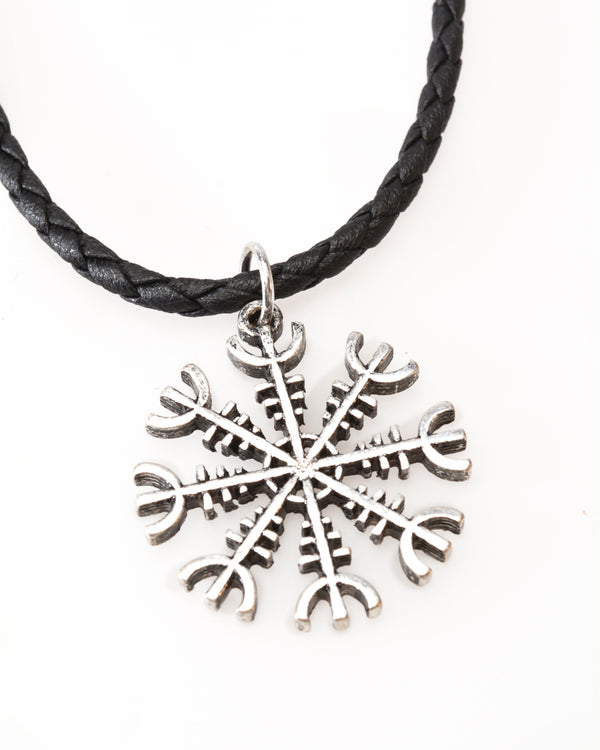 Necklace, Leather, Helm of Awe Symbol
