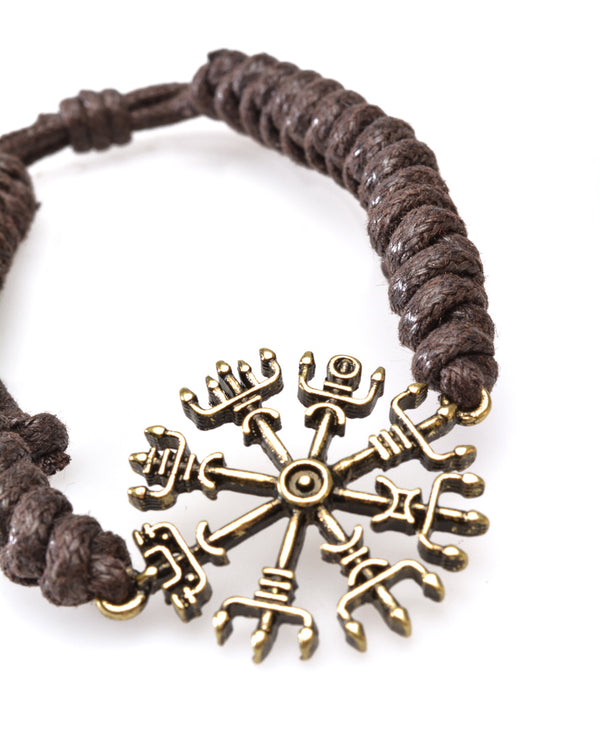 Adjustable Cord Wristband, Bronze look 'Compass'