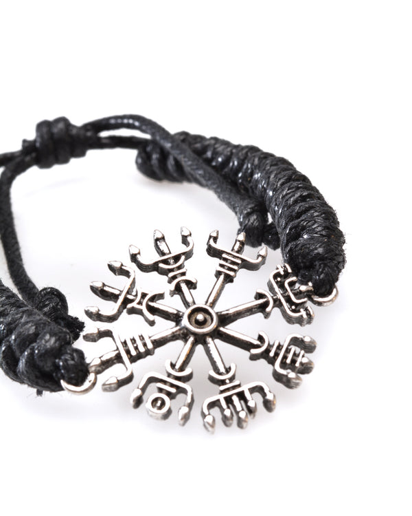 Adjustable Cord Wristband, Silver look 'Compass'