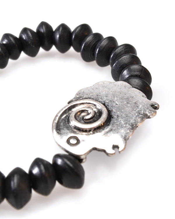 Black Wooden beads Wristband, Silver look Sheep