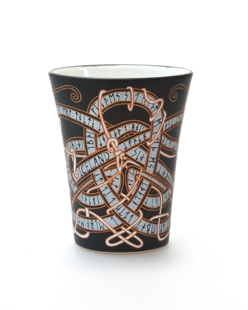 Mug, Black, Icelandic Dragon-Rune design