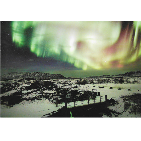 Postcard, Northern Lights over Thingvellir