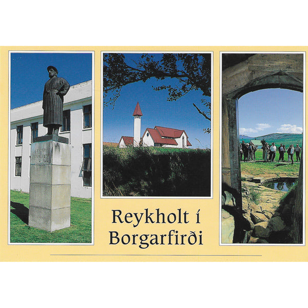 Postcard, Reykholtskirkja Church and Snorri Sturluson