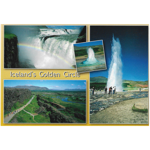 Postcard, Gullfoss, Geysir and Thingvellir, 'The Golden Circle'