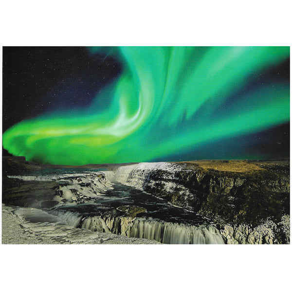 Postcard, Northern Lights over Gullfoss