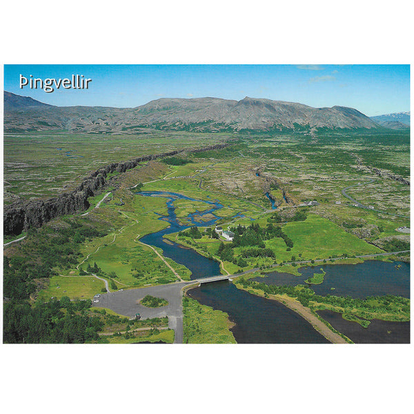 Postcard, aerial view over Thingvellir to the north