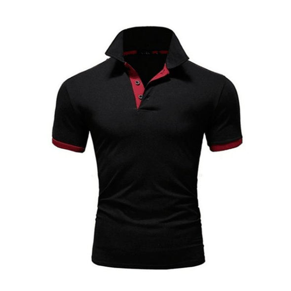 Hanrae Solid Color Stitching Polo Short sleeve Shirt