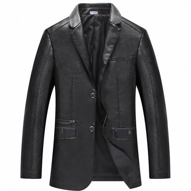 Hanrae Suit Collar Leather Jacket Outerwear
