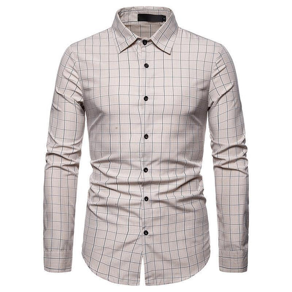 Hanrae Men's Business Casual Long Sleeve Dress Shirt