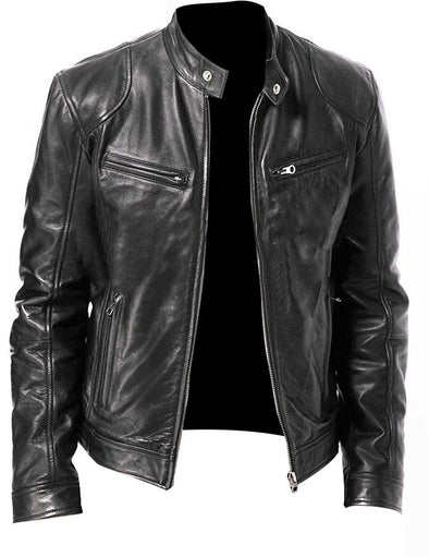 Hanrae Men Vintage Brown Biker Faux Leather Jacket