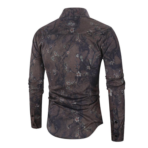 Hanrae Men's Turn Down Collar Long Sleeve Floral Printed