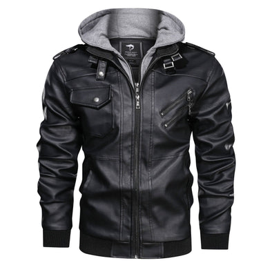 Hanrae Outwear Leather Jacket Hooded Motorcycle Coat