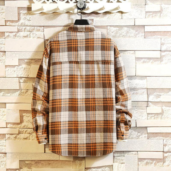 Hanrae Mix Color Cotton Long Sleeve Checked Shirts