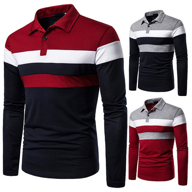 POLO Three-color Stitching Fashion Design Casual Cross-border Men's Lapel Long Sleeve