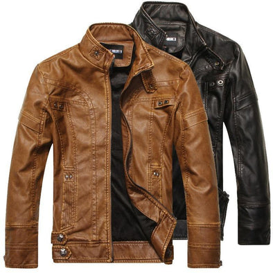 Hanrae Leather Jacket Slim Motorcycle PU Jacket
