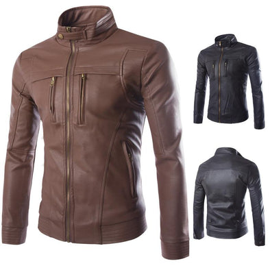 Hanrae Stand Collar Zipper Casual Faux Leather Jacket