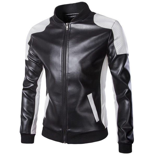 Hanrae Stand Collar Trend Black and White Color Matching Jacket