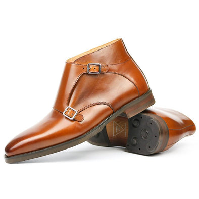 Hanrae Men's Genuine Leather Monks Boots