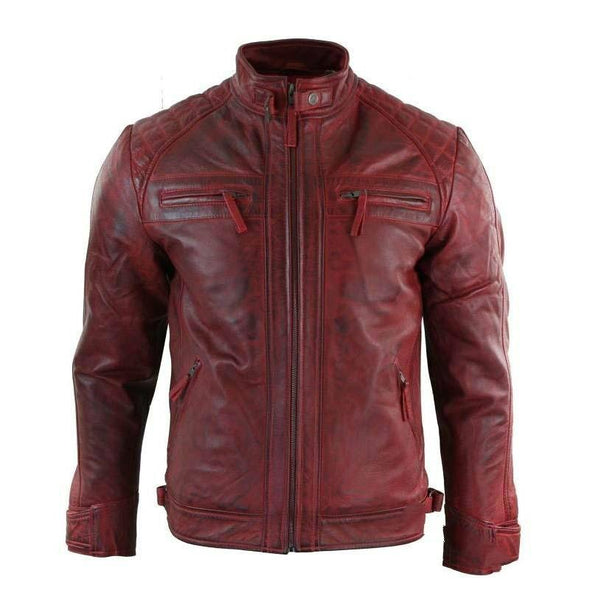 Hanrae Spring Motorcycle Suit Stand Collar Leather Jacket