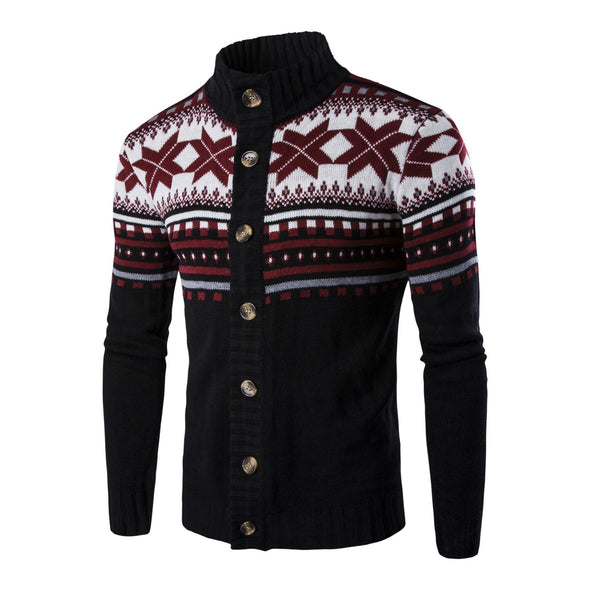 Hanrae Mens Thicken Long Sleeve Cardigan Knit Sweater V Neck