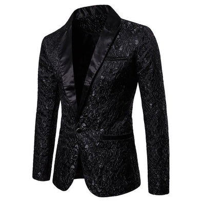 Hanrae Men's Printed Suit Formal Tops Jackets