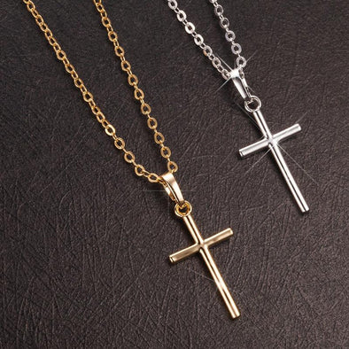 Hanrae Simple Fashion Cross Chain Necklace Luxury Pendant Necklaces  Christian Gifts