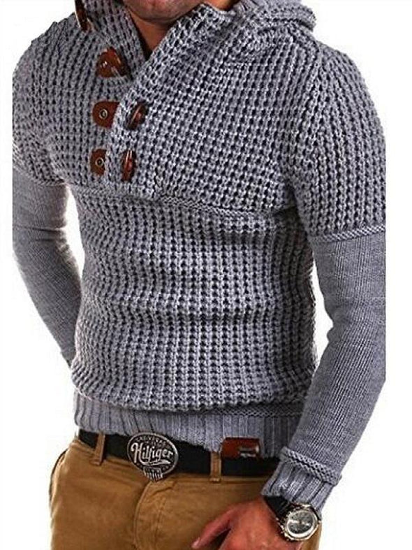 Hanrae Men's Solid Color Slim Fit Knitted Casual Sweater