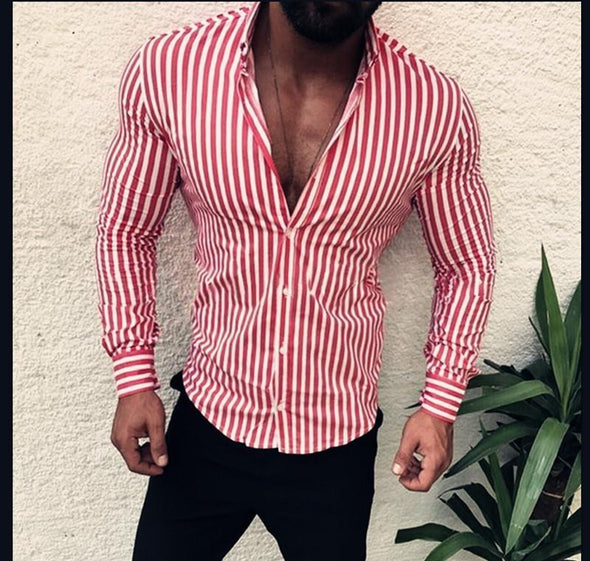 Hanrae Men's striped Colorful shirt