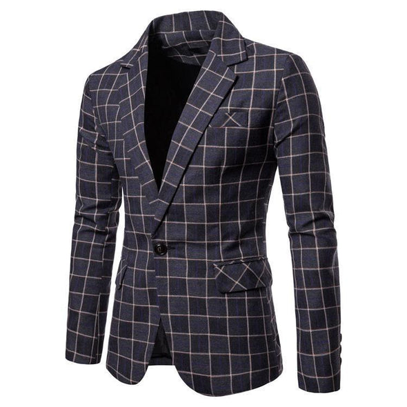 Hanrae Men's Slim Button Suit Plaid Turn-down Collor tops Solid Jacket Coat
