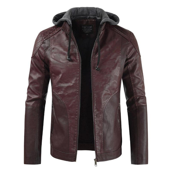 Hanrae Fashion Hooded Casual Faux Leather Stitching PU Leather Jacket