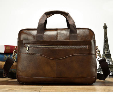 Hanrae Leather Briefcase Laptop Handbag Messenger Business Bag