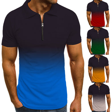 2021 summer new fashion gradient short-sleeved polo shirt