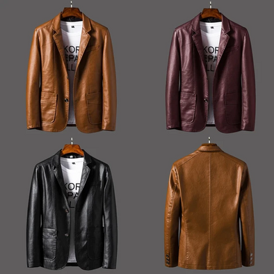 Hanrae Men's Thin Motorcycle Jacket Leather Blazer Coat