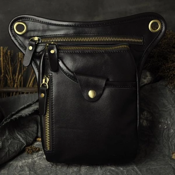 Hanrae Vintage Leather Motorcycle Riding Bag